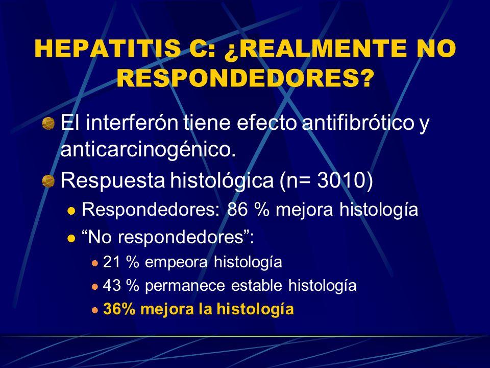HEPATITIS C: ¿REALMENTE NO RESPONDEDORES? El interferón tiene efecto antifibrótico y anticarcinogénico. Respuesta histológica (n= 3010) Respondedores:
