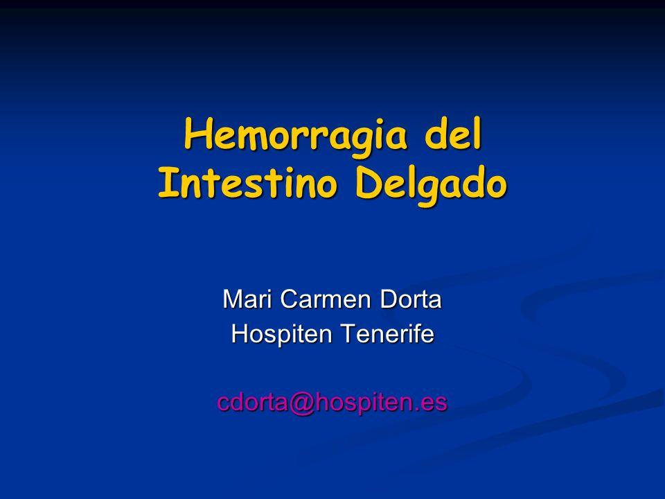 Introducción 3-5% de casos con hemorragia digestiva baja, el origen es el intestino delgado 3-5% de casos con hemorragia digestiva baja, el origen es el intestino delgado Causa más frecuente de HDB origen no filiado Causa más frecuente de HDB origen no filiado