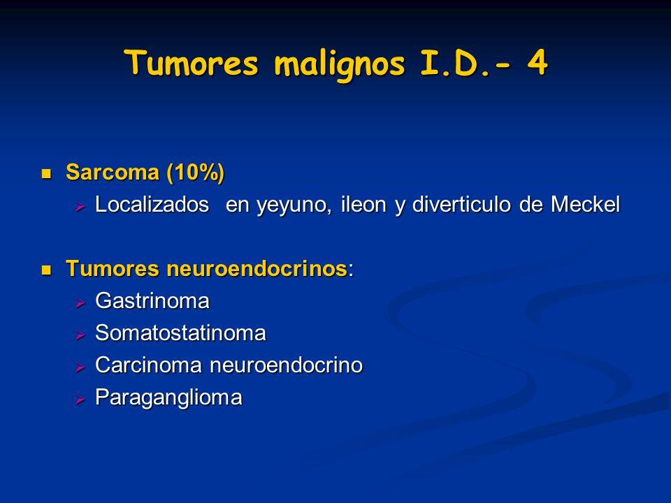 Tumores malignos I.D.- 4 Sarcoma (10%) Sarcoma (10%) Localizados en yeyuno, ileon y diverticulo de Meckel Localizados en yeyuno, ileon y diverticulo d
