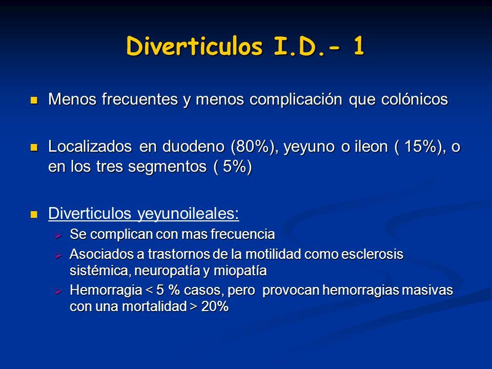 Diverticulos I.D.- 1 Menos frecuentes y menos complicación que colónicos Menos frecuentes y menos complicación que colónicos Localizados en duodeno (8