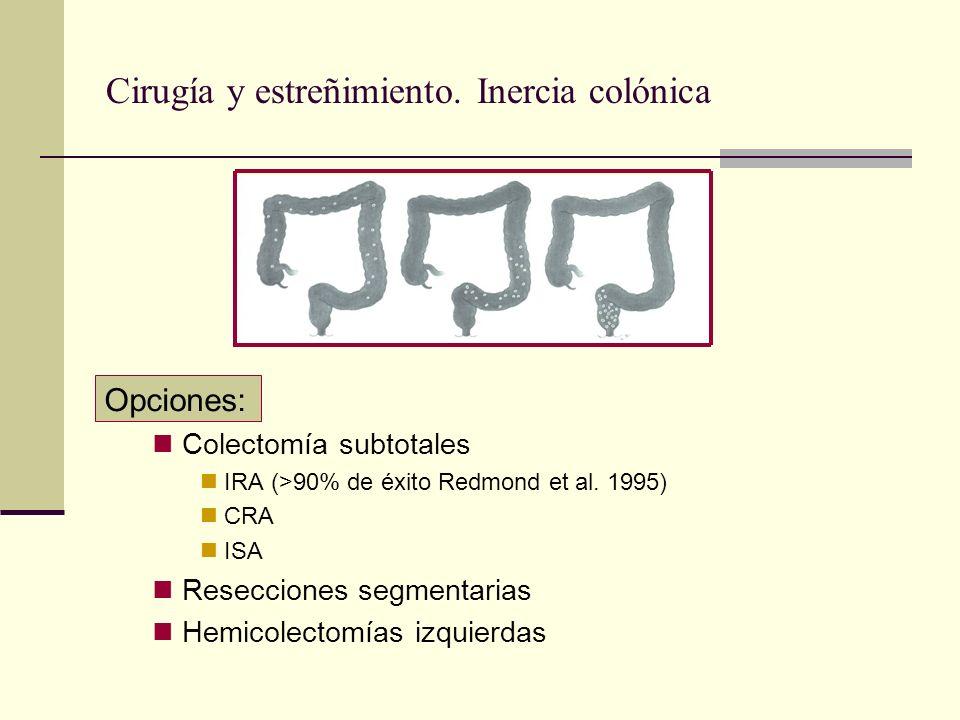 Cirugía y estreñimiento. Inercia colónica Opciones: Colectomía subtotales IRA (>90% de éxito Redmond et al. 1995) CRA ISA Resecciones segmentarias Hem