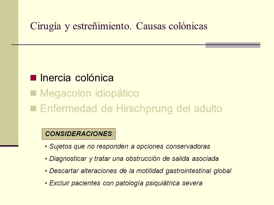 Cirugía y estreñimiento. Causas colónicas Inercia colónica Megacolon idiopático Enfermedad de Hirschprung del adulto CONSIDERACIONES: Sujetos que no r