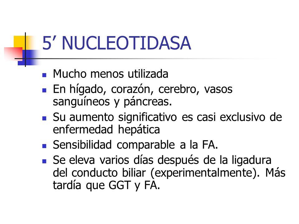 5 NUCLEOTIDASA Mucho menos utilizada En hígado, corazón, cerebro, vasos sanguíneos y páncreas. Su aumento significativo es casi exclusivo de enfermeda