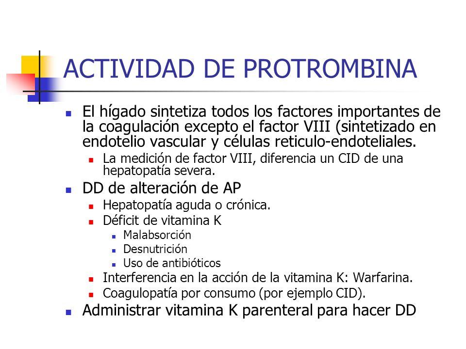 ACTIVIDAD DE PROTROMBINA El hígado sintetiza todos los factores importantes de la coagulación excepto el factor VIII (sintetizado en endotelio vascula