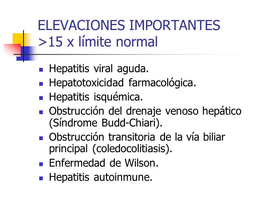 ELEVACIONES IMPORTANTES >15 x límite normal Hepatitis viral aguda. Hepatotoxicidad farmacológica. Hepatitis isquémica. Obstrucción del drenaje venoso