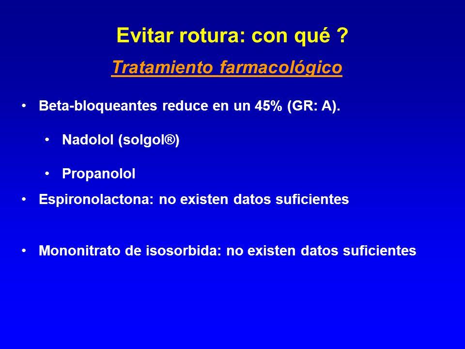 Beta-bloqueantes reduce en un 45% (GR: A). Nadolol (solgol®) Propanolol Espironolactona: no existen datos suficientes Mononitrato de isosorbida: no ex