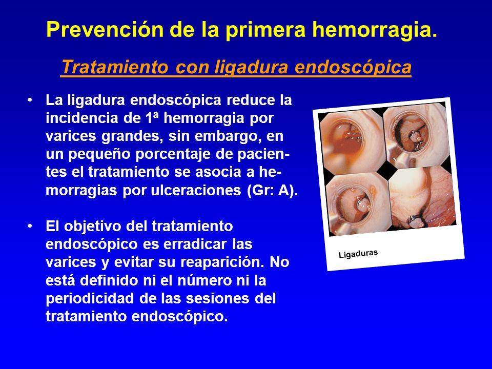 Prevención de la primera hemorragia. La ligadura endoscópica reduce la incidencia de 1ª hemorragia por varices grandes, sin embargo, en un pequeño por