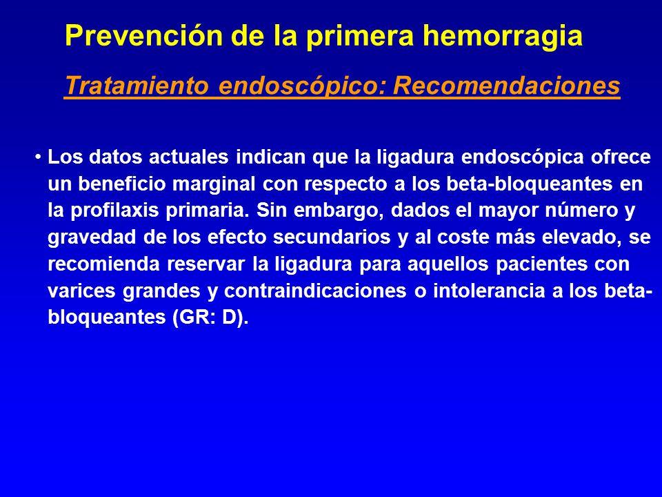 Prevención de la primera hemorragia Los datos actuales indican que la ligadura endoscópica ofrece un beneficio marginal con respecto a los beta-bloque