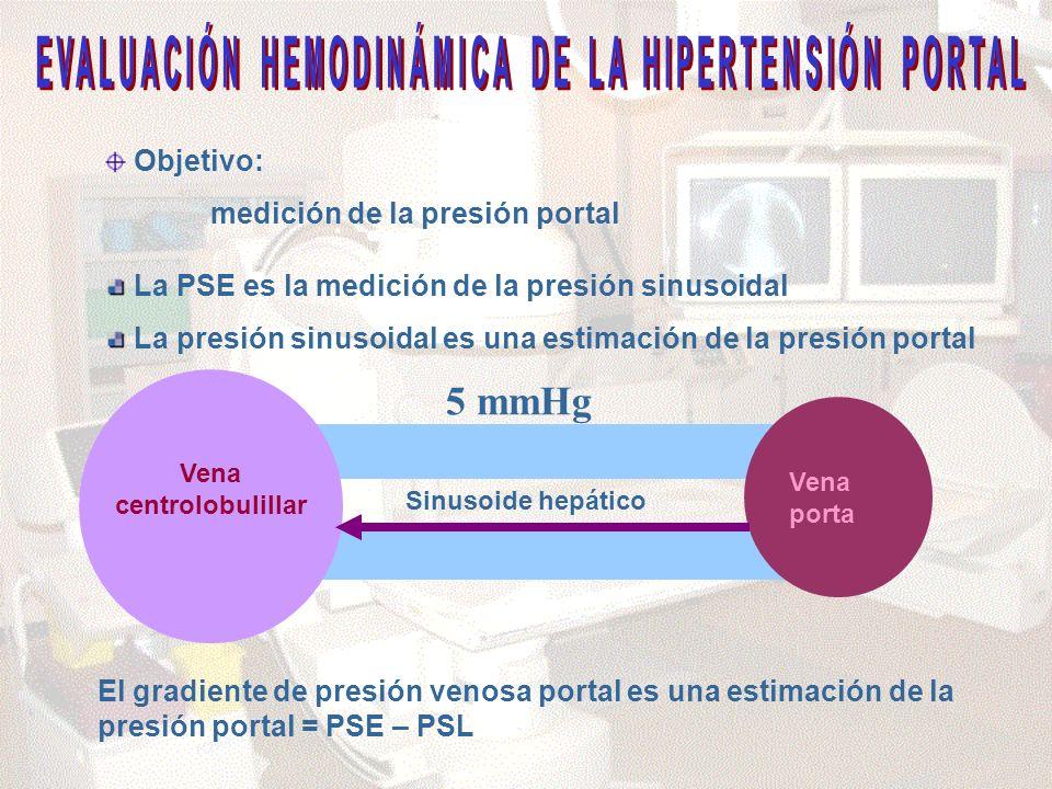Sinusoide hepático Vena centrolobulillar Vena porta Objetivo: medición de la presión portal El gradiente de presión venosa portal es una estimación de la presión portal = PSE – PSL La PSE es la medición de la presión sinusoidal La presión sinusoidal es una estimación de la presión portal 5 mmHg