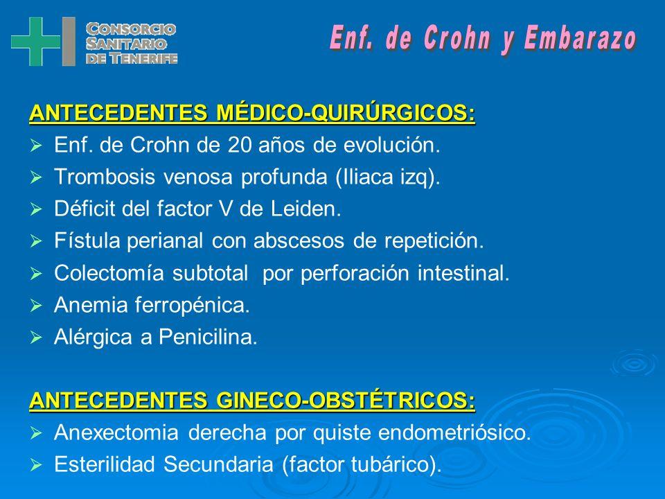 INTRODUCCIÓN Paciente mujer de 34 años, diagnosticada de Enf. de Crohn desde 1984 (a los 14 años), con múltiples brotes de la enfermedad y buena respu