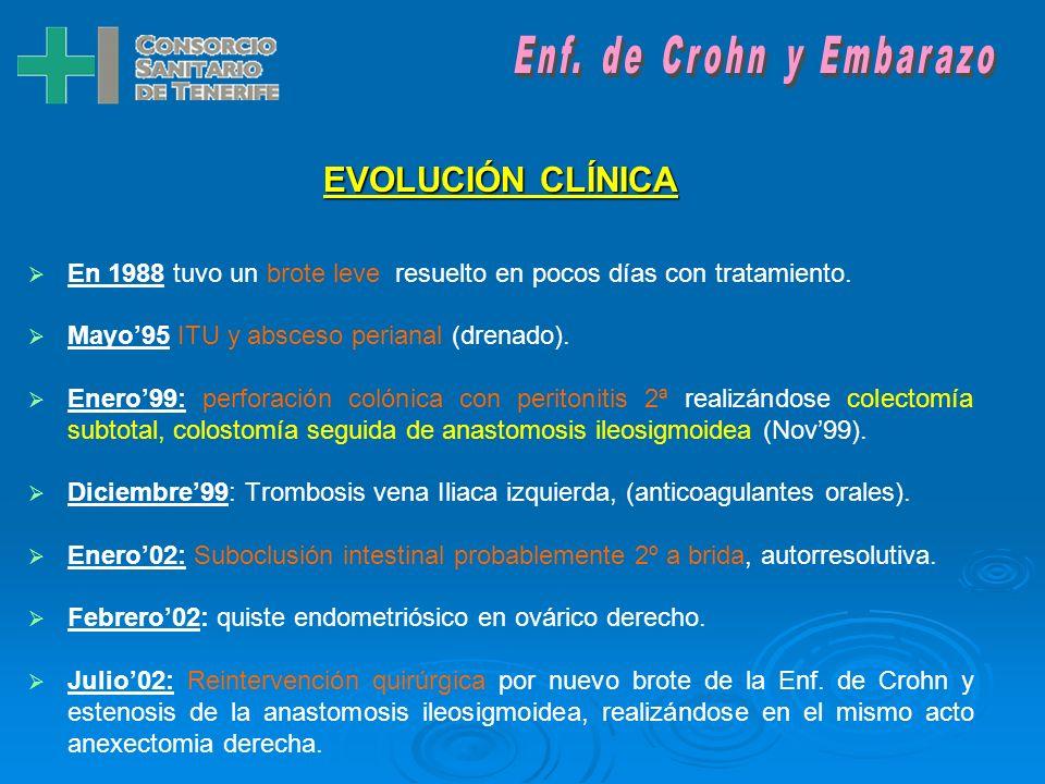 ANTECEDENTES MÉDICO-QUIRÚRGICOS: Enf. de Crohn de 20 años de evolución. Trombosis venosa profunda (Iliaca izq). Déficit del factor V de Leiden. Fístul