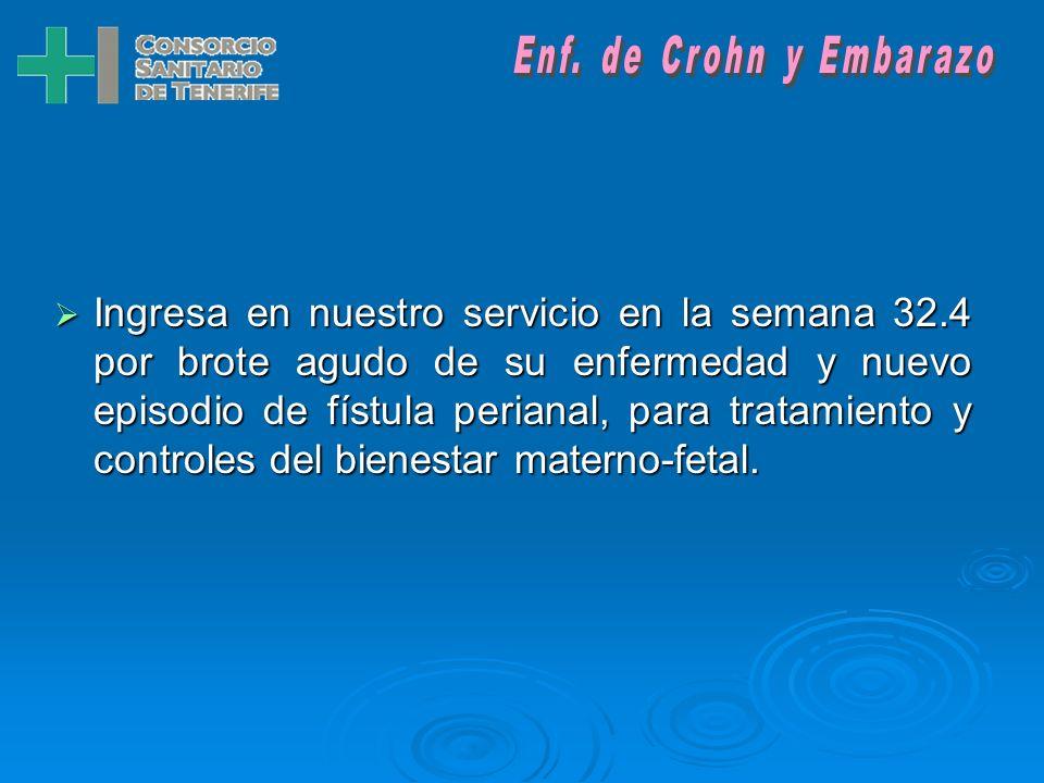 Ingresa en nuestro servicio en la semana 32.4 por brote agudo de su enfermedad y nuevo episodio de fístula perianal, para tratamiento y controles del bienestar materno-fetal.