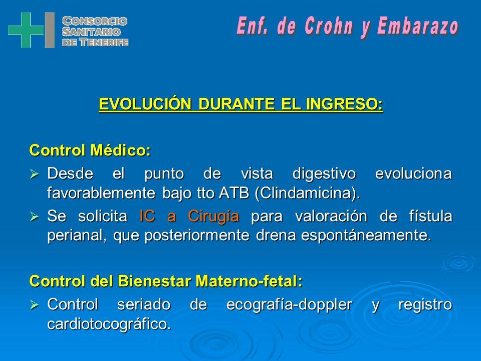 EVOLUCIÓN DURANTE EL INGRESO: Control Médico: Desde el punto de vista digestivo evoluciona favorablemente bajo tto ATB (Clindamicina).
