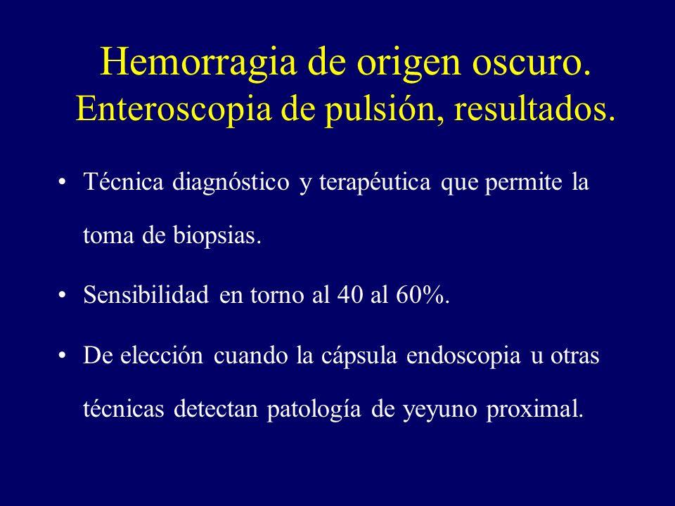 Hemorragia de origen oscuro. Enteroscopia de pulsión, resultados. Técnica diagnóstico y terapéutica que permite la toma de biopsias. Sensibilidad en t
