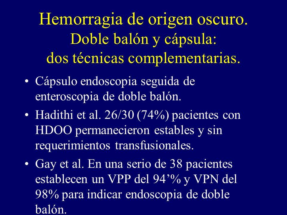 Hemorragia de origen oscuro. Doble balón y cápsula: dos técnicas complementarias. Cápsulo endoscopia seguida de enteroscopia de doble balón. Hadithi e
