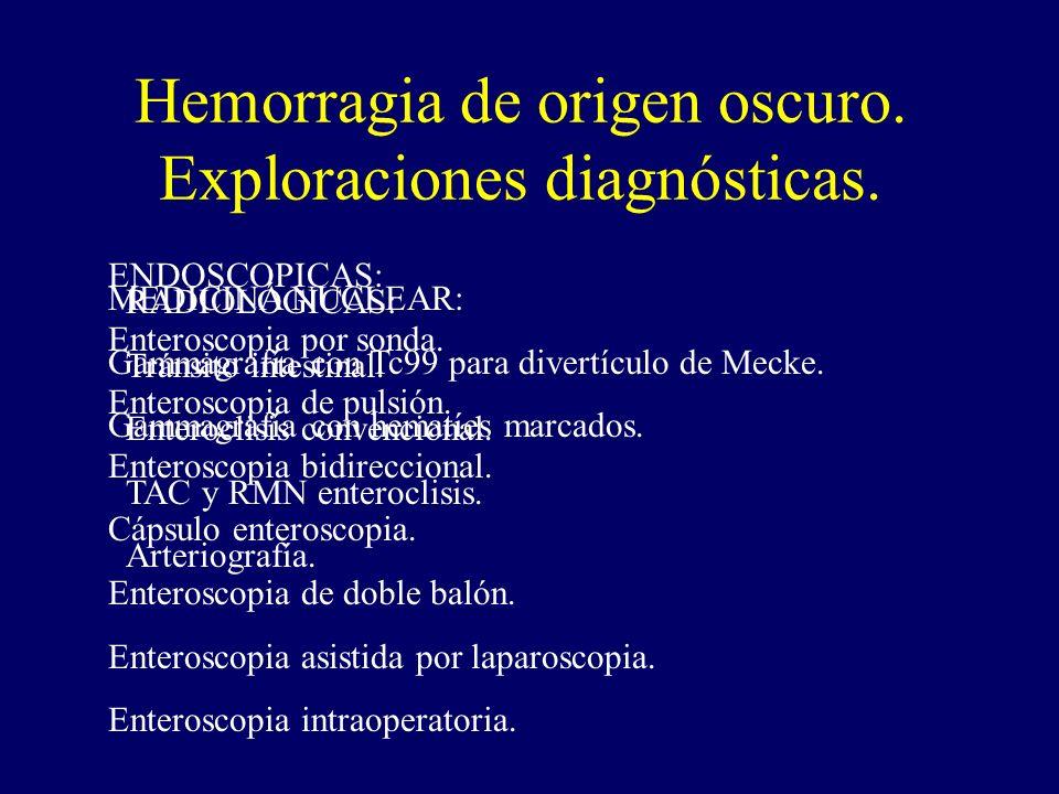 Hemorragia de origen oscuro. Exploraciones diagnósticas. RADIOLÓGICAS: Tránsito intestinal. Enteroclisis convencional. TAC y RMN enteroclisis. Arterio