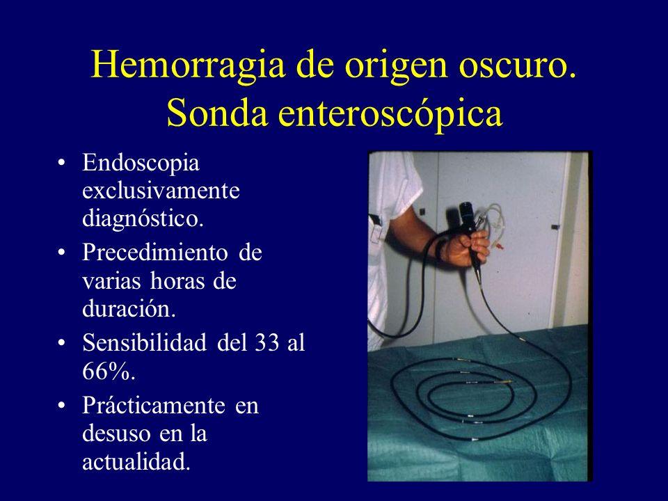 Hemorragia de origen oscuro. Sonda enteroscópica Endoscopia exclusivamente diagnóstico. Precedimiento de varias horas de duración. Sensibilidad del 33
