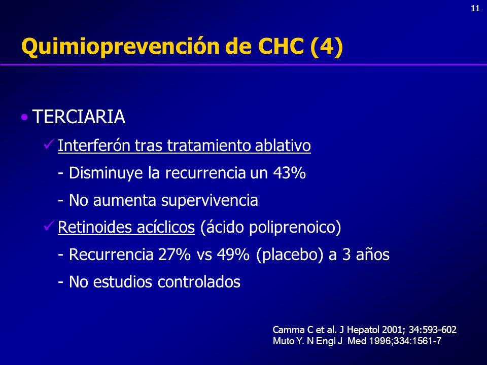 11 Quimioprevención de CHC (4) TERCIARIA Interferón tras tratamiento ablativo - Disminuye la recurrencia un 43% - No aumenta supervivencia Retinoides