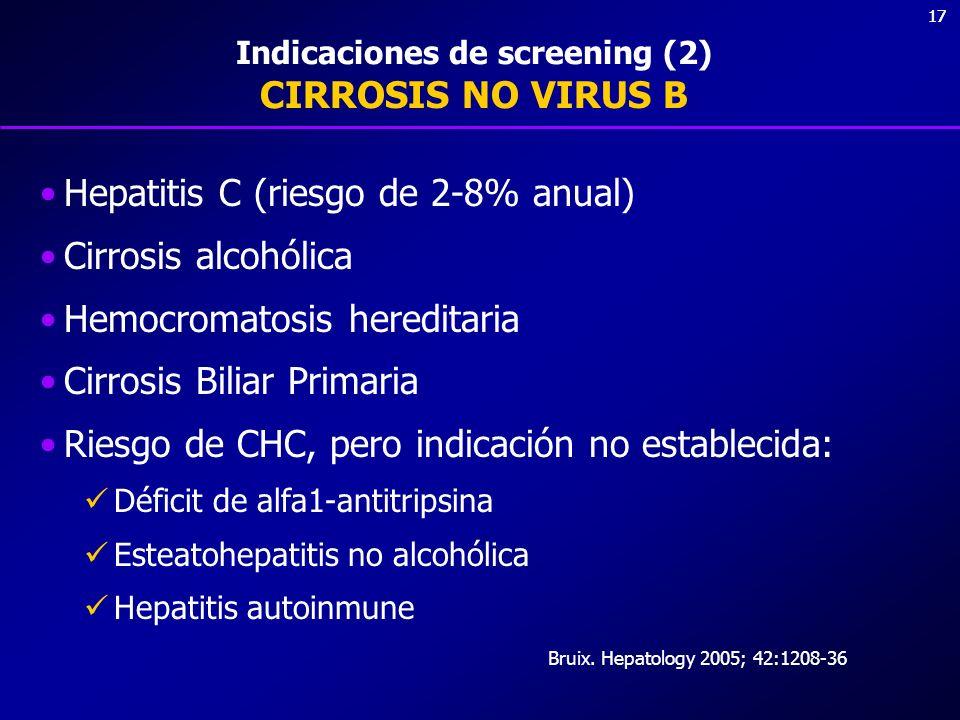17 Indicaciones de screening (2) CIRROSIS NO VIRUS B Hepatitis C (riesgo de 2-8% anual) Cirrosis alcohólica Hemocromatosis hereditaria Cirrosis Biliar