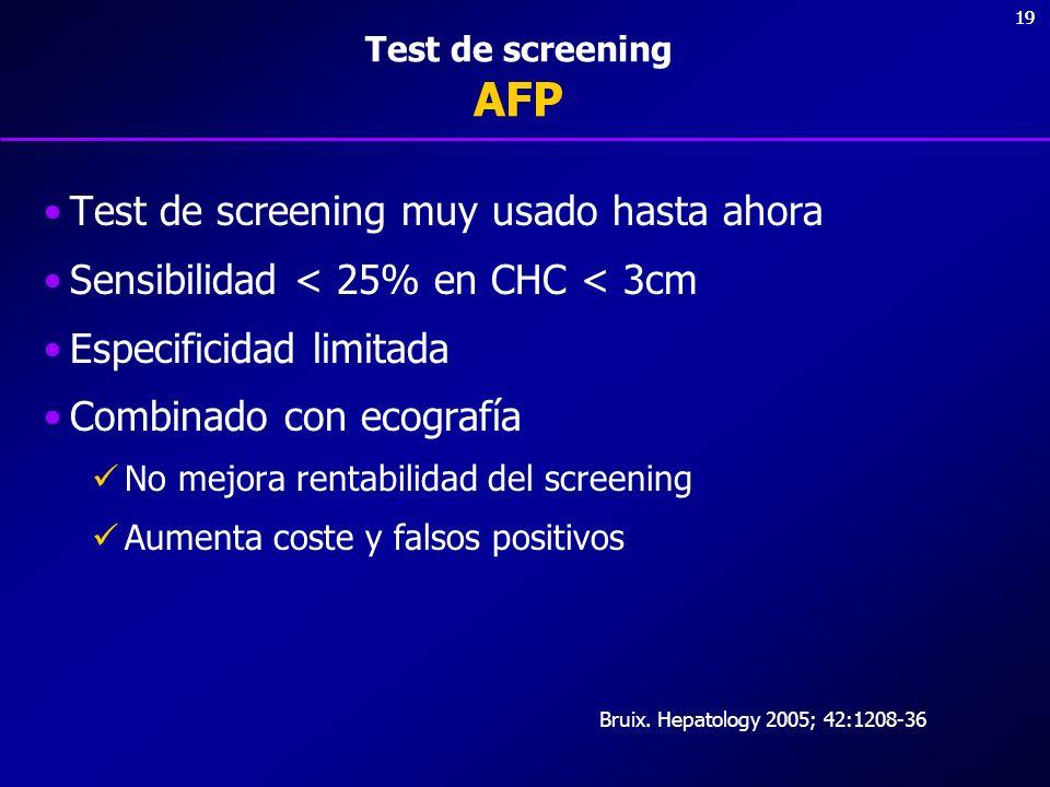 19 Test de screening AFP Test de screening muy usado hasta ahora Sensibilidad < 25% en CHC < 3cm Especificidad limitada Combinado con ecografía No mej
