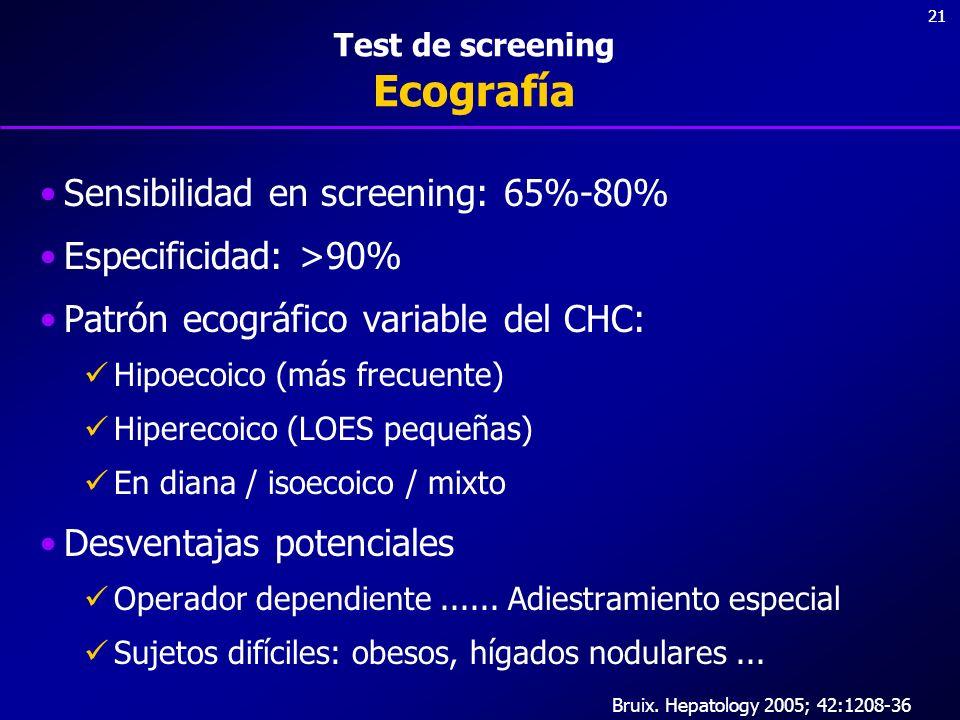 21 Test de screening Ecografía Sensibilidad en screening: 65%-80% Especificidad: >90% Patrón ecográfico variable del CHC: Hipoecoico (más frecuente) H