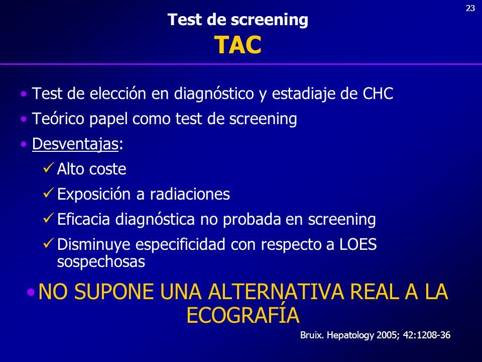 23 Test de screening TAC Test de elección en diagnóstico y estadiaje de CHC Teórico papel como test de screening Desventajas: Alto coste Exposición a