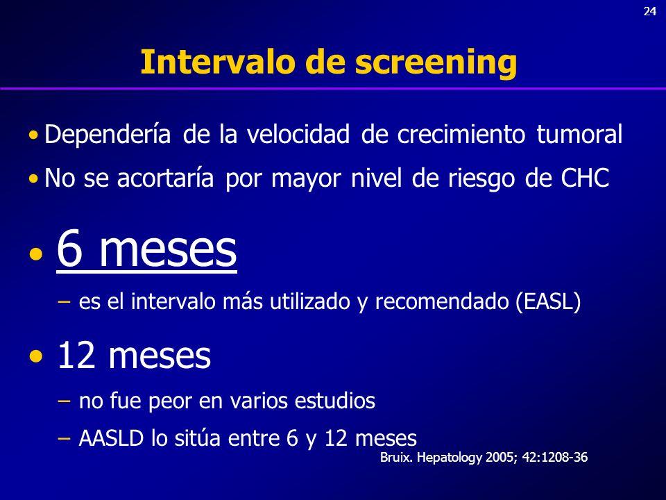 24 Intervalo de screening Dependería de la velocidad de crecimiento tumoral No se acortaría por mayor nivel de riesgo de CHC 6 meses –es el intervalo