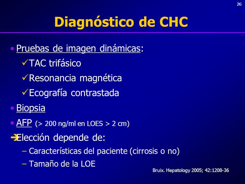 26 Diagnóstico de CHC Pruebas de imagen dinámicas: TAC trifásico Resonancia magnética Ecografía contrastada Biopsia AFP (> 200 ng/ml en LOES > 2 cm) E