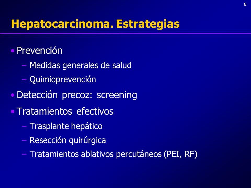 66 Hepatocarcinoma. Estrategias Prevención –Medidas generales de salud –Quimioprevención Detección precoz: screening Tratamientos efectivos –Trasplant