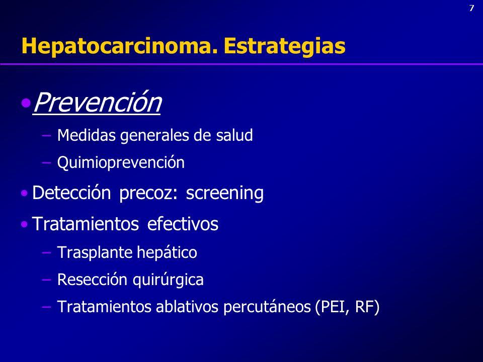 77 Hepatocarcinoma. Estrategias Prevención –Medidas generales de salud –Quimioprevención Detección precoz: screening Tratamientos efectivos –Trasplant