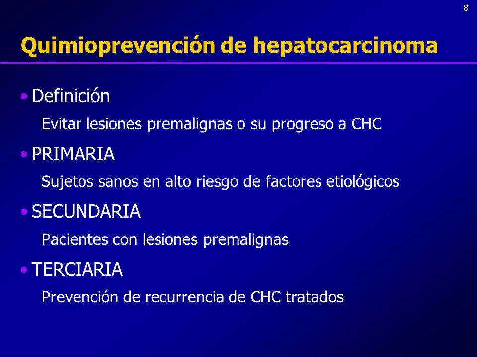 88 Quimioprevención de hepatocarcinoma Definición Evitar lesiones premalignas o su progreso a CHC PRIMARIA Sujetos sanos en alto riesgo de factores et