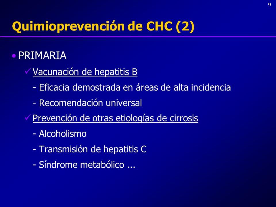 99 Quimioprevención de CHC (2) PRIMARIA Vacunación de hepatitis B - Eficacia demostrada en áreas de alta incidencia - Recomendación universal Prevenci