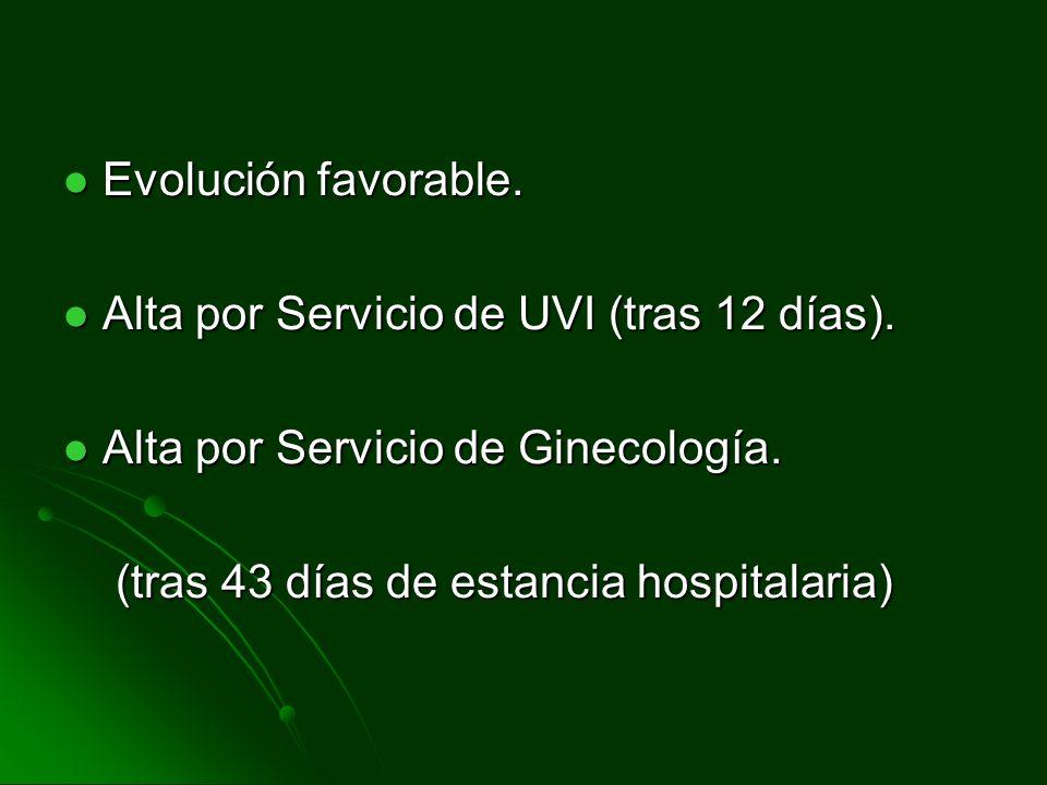 Evolución favorable. Evolución favorable. Alta por Servicio de UVI (tras 12 días). Alta por Servicio de UVI (tras 12 días). Alta por Servicio de Ginec