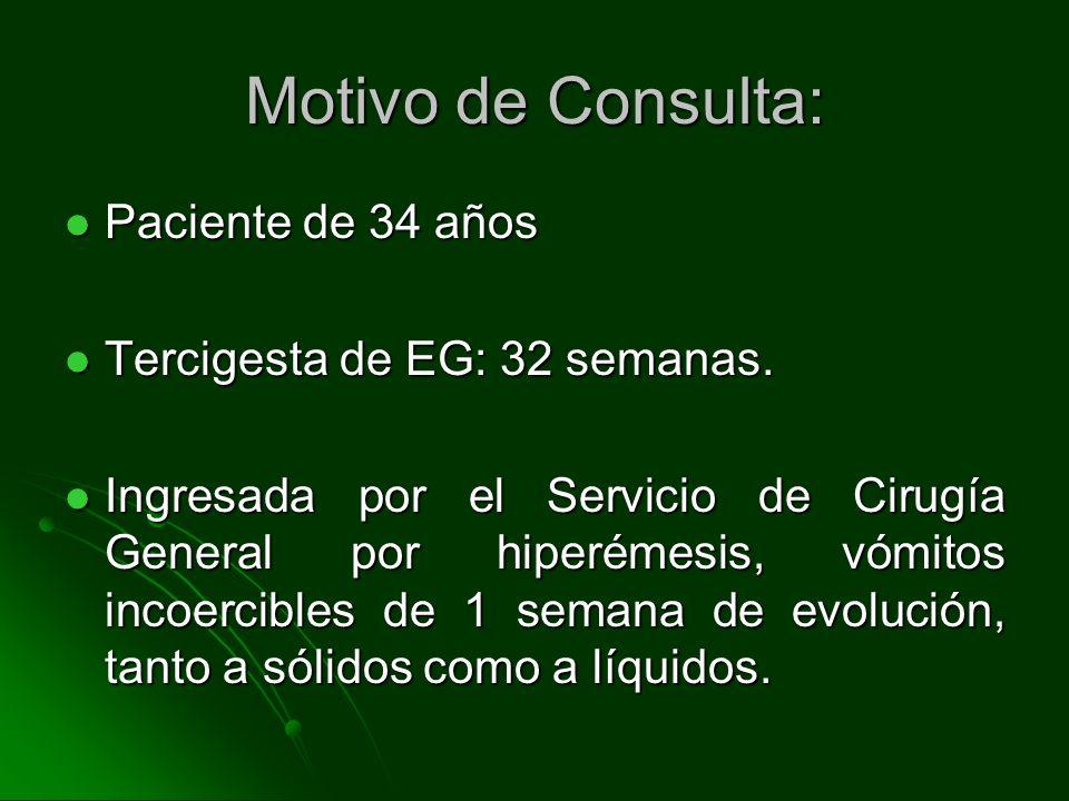 Motivo de Consulta: Paciente de 34 años Paciente de 34 años Tercigesta de EG: 32 semanas. Tercigesta de EG: 32 semanas. Ingresada por el Servicio de C