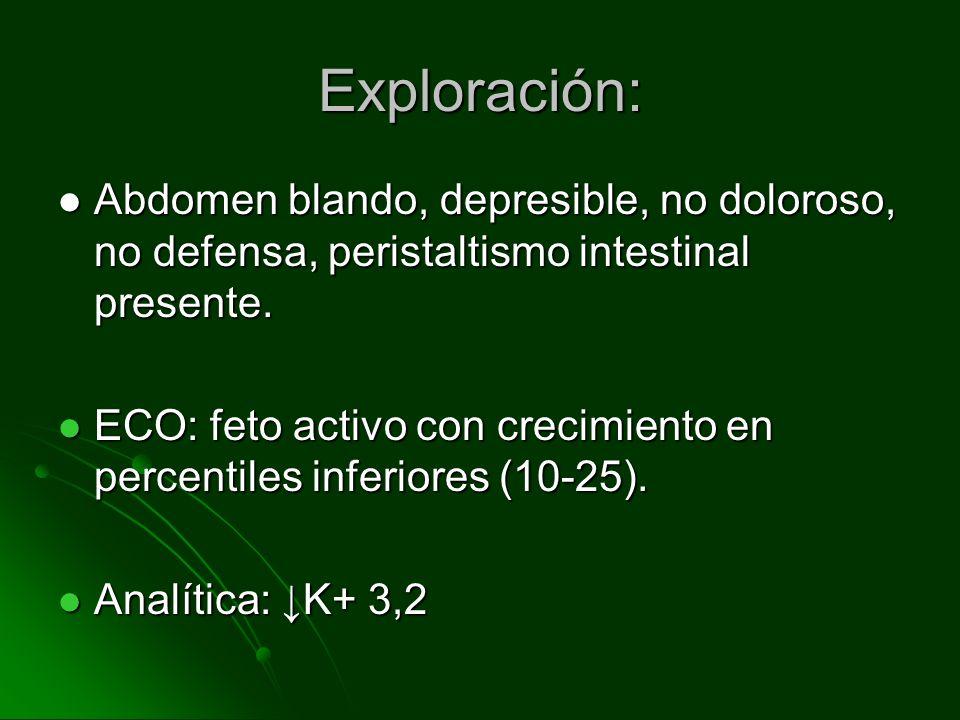 Exploración: Abdomen blando, depresible, no doloroso, no defensa, peristaltismo intestinal presente. Abdomen blando, depresible, no doloroso, no defen