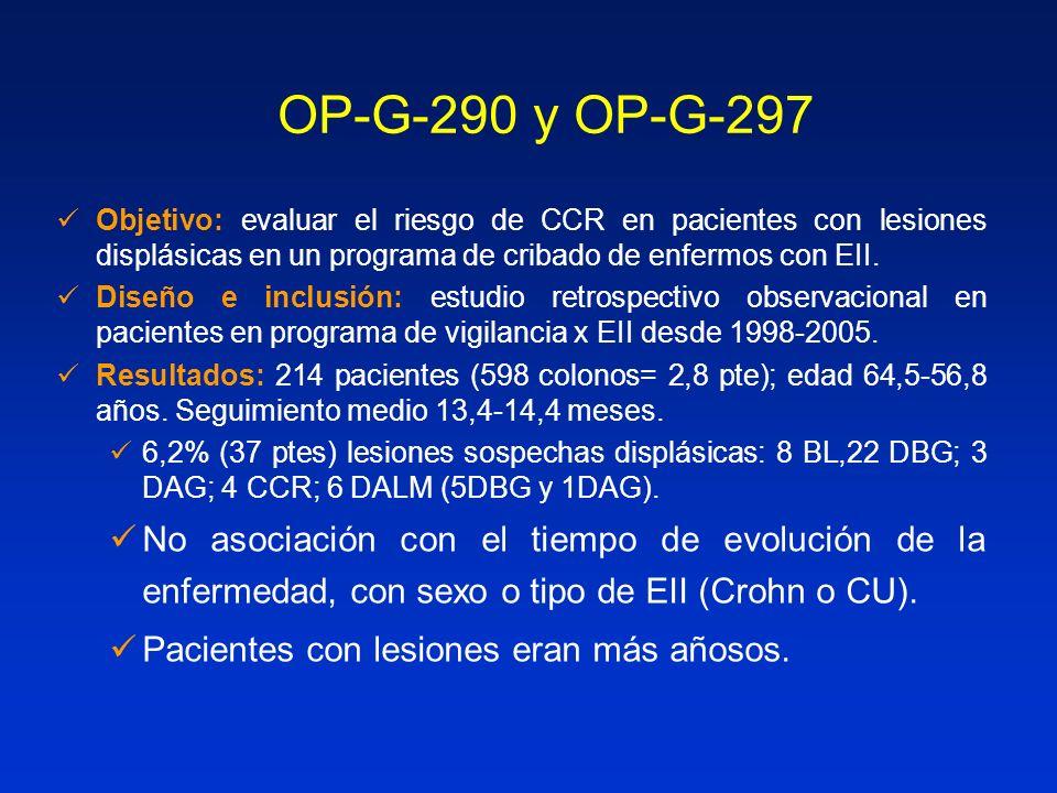 OP-G-290 y OP-G-297 Objetivo: evaluar el riesgo de CCR en pacientes con lesiones displásicas en un programa de cribado de enfermos con EII. Diseño e i