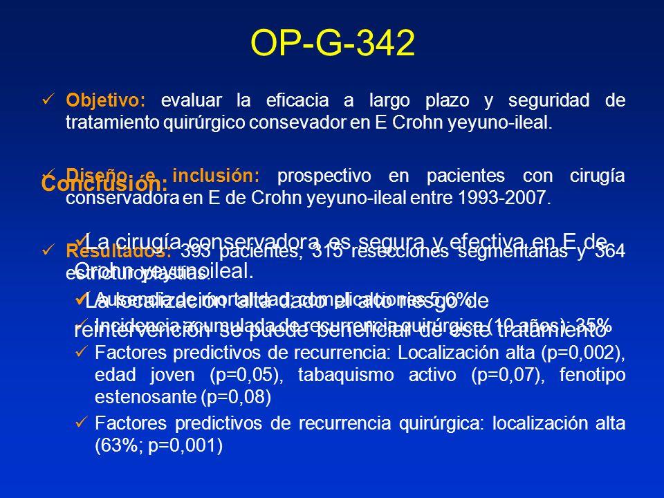 OP-G-342 Objetivo: evaluar la eficacia a largo plazo y seguridad de tratamiento quirúrgico consevador en E Crohn yeyuno-ileal. Diseño e inclusión: pro