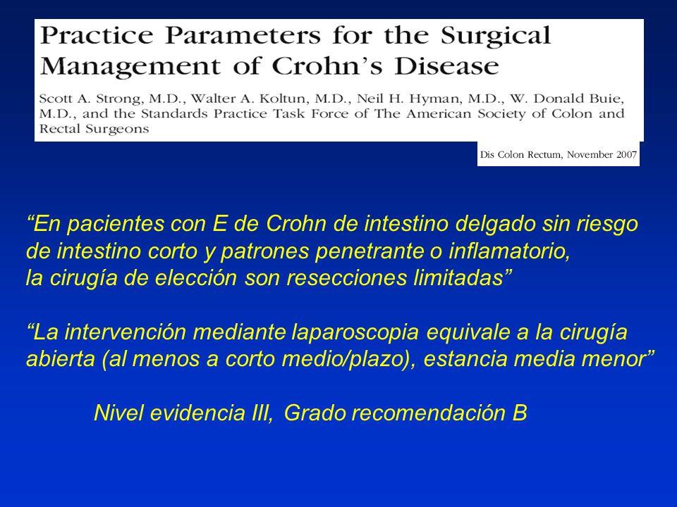 OP-G-342 En pacientes con E de Crohn de intestino delgado sin riesgo de intestino corto y patrones penetrante o inflamatorio, la cirugía de elección s