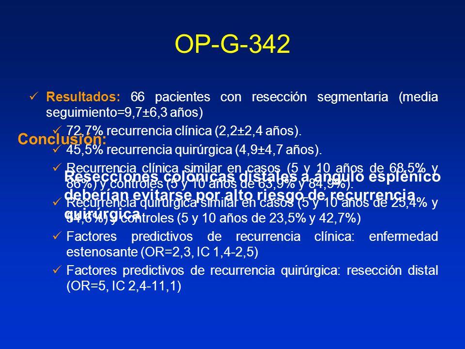 OP-G-342 Resultados: 66 pacientes con resección segmentaria (media seguimiento=9,7±6,3 años) 72,7% recurrencia clínica (2,2±2,4 años). 45,5% recurrenc