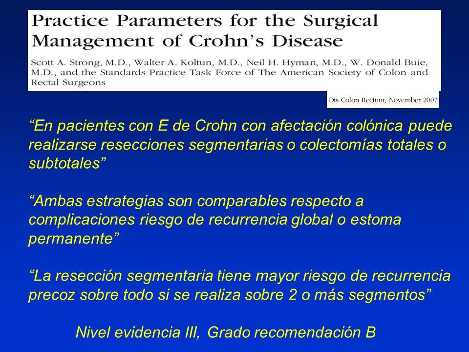 En pacientes con E de Crohn con afectación colónica puede realizarse resecciones segmentarias o colectomías totales o subtotales Ambas estrategias son