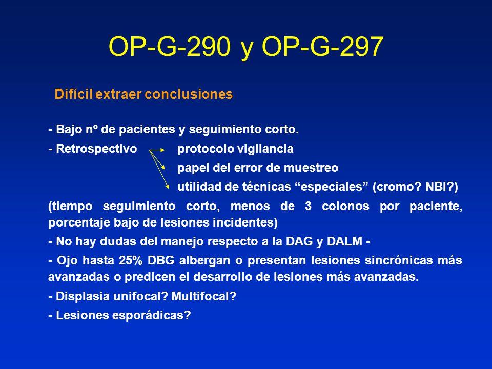 OP-G-290 y OP-G-297 Difícil extraer conclusiones - Bajo nº de pacientes y seguimiento corto. - Retrospectivo protocolo vigilancia papel del error de m