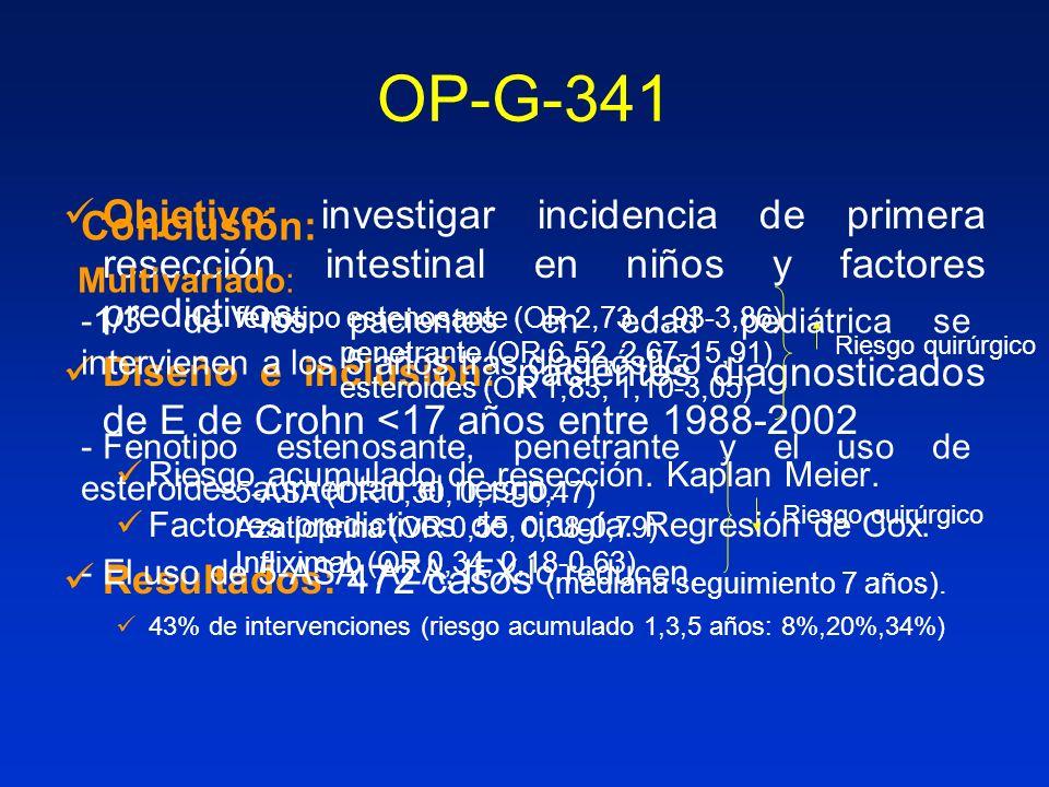 OP-G-341 Objetivo: investigar incidencia de primera resección intestinal en niños y factores predictivos. Diseño e inclusión: pacientes diagnosticados