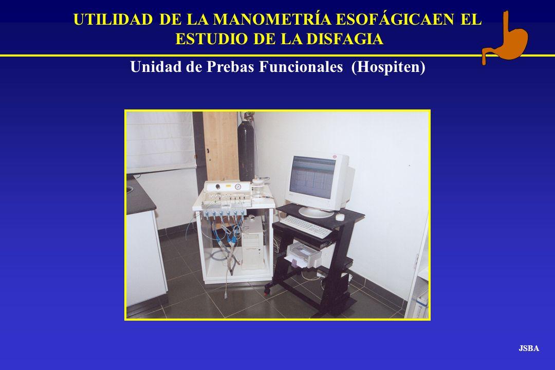 JSBA Unidad de Prebas Funcionales (Hospiten) UTILIDAD DE LA MANOMETRÍA ESOFÁGICAEN EL ESTUDIO DE LA DISFAGIA