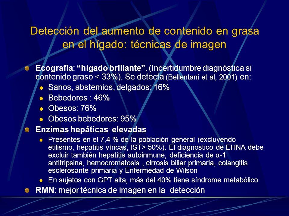 Detección del aumento de contenido en grasa en el hígado: técnicas de imagen Ecografía: hígado brillante. (Incertidumbre diagnóstica si contenido gras