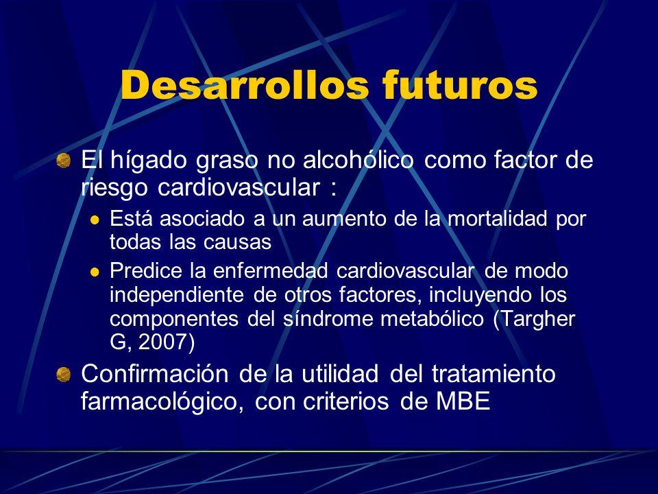 Desarrollos futuros El hígado graso no alcohólico como factor de riesgo cardiovascular : Está asociado a un aumento de la mortalidad por todas las cau