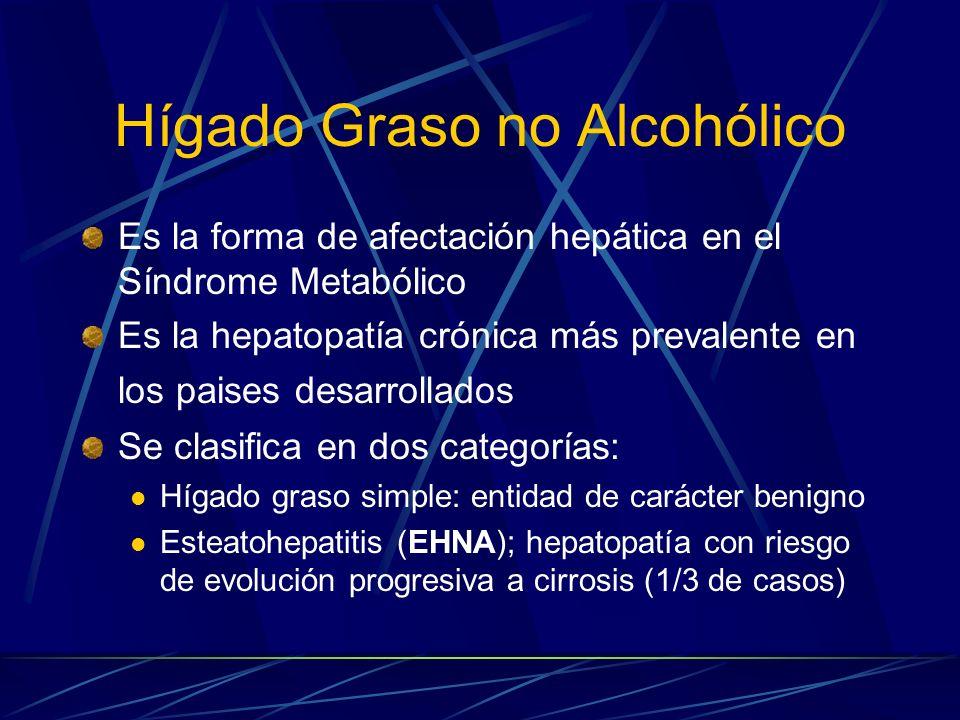 Prevalencia de los tipos histológicos Hígado graso Esteatohepatitis Síndrome metabólico 41% Población general10-24%2-3% Obesos75%20% (si IMC> 35) Resistencia a insulina sin DM 90% DM de novo sin tto40,8%