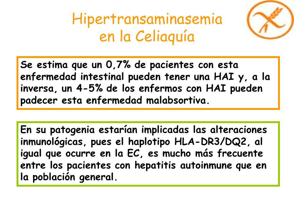 Hipertransaminasemia en la Celiaquía Se estima que un 0,7% de pacientes con esta enfermedad intestinal pueden tener una HAI y, a la inversa, un 4-5% d