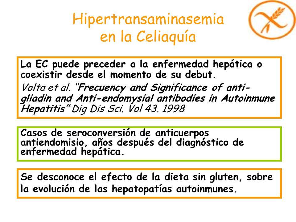 Hipertransaminasemia en la Celiaquía La EC puede preceder a la enfermedad hepática o coexistir desde el momento de su debut. Volta et al. Frecuency an