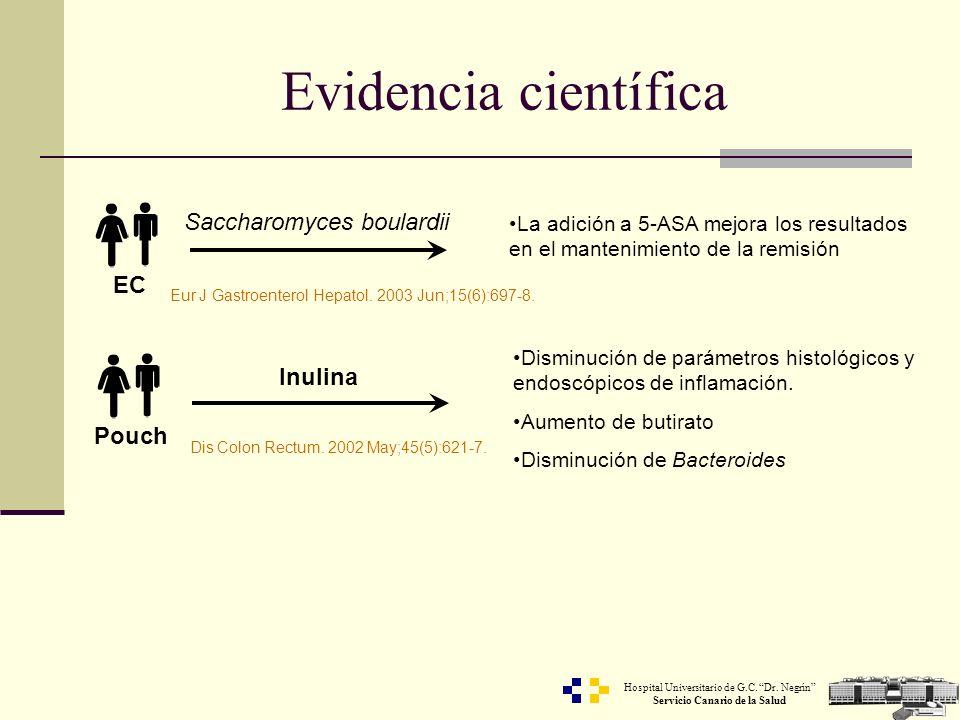 Hospital Universitario de G.C. Dr. Negrín Servicio Canario de la Salud Evidencia científica Saccharomyces boulardii La adición a 5-ASA mejora los resu