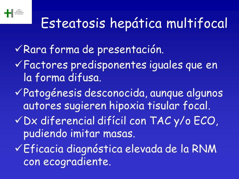Esteatosis hepática multifocal Rara forma de presentación. Factores predisponentes iguales que en la forma difusa. Patogénesis desconocida, aunque alg